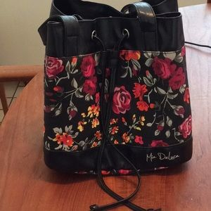 Mia DeLuca Lunch Bag Black with Floral Design